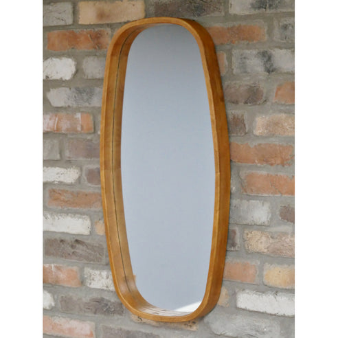 Retro Industrial 50's Style Wood Wall Mirror (40 x 5 x 80cm)