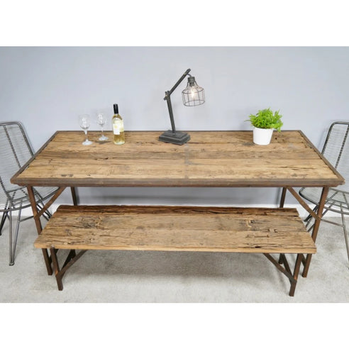 Hoxton Metal and Wood Industrial Rustic Folding Dining Table and 2 Bench Set (185 x 77 x 79cm)