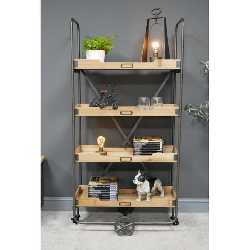 Hoxton Metal and Wood Industrial Style Wheeled Shelf Unit (73 x 40 x 146cm)