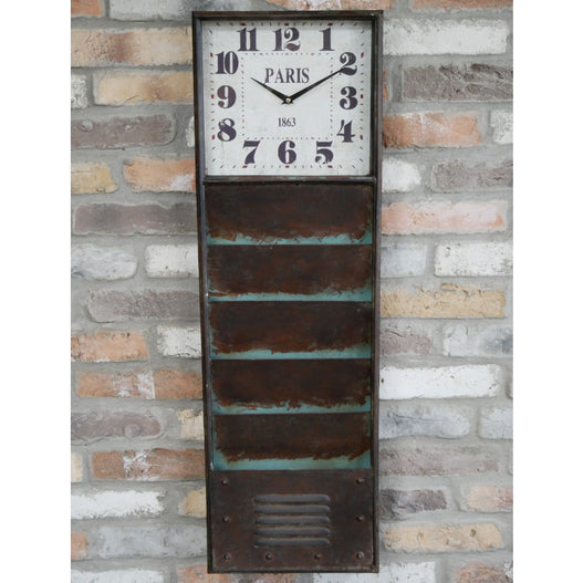 Hoxton Metal Industrial Letter Rack Clock (31 x 7 x 98 ) - SECONDS CLEARANCE