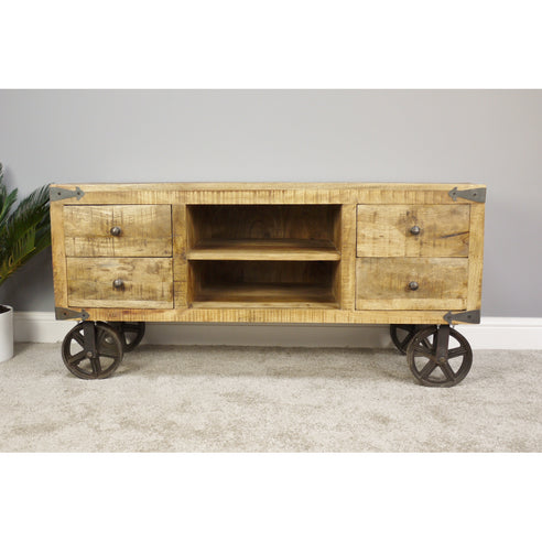 Hoxton Industrial Mango Wood and Steel Wheeled TV Unit (120 x 48 x 60cm)