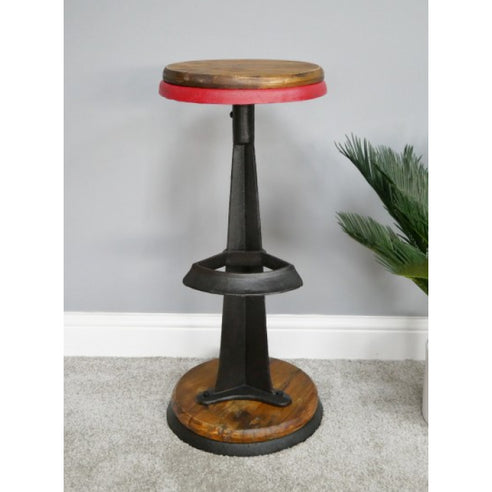 Hoxton Metal and Wood Industrial Style Cast Iron Stool (35 x 35 x 75cm)