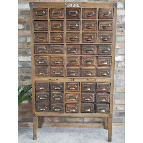 Hoxton Wood Industrial Style Multi Drawer Hobby Collectors Cabinet (85 x 34 x 145cm)