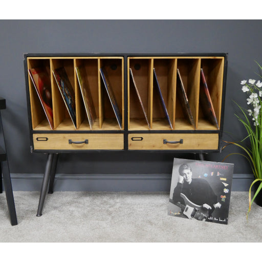 Retro Industrial 50's Style Metal/Wood Filing Vinyl LP Sideboard  (99 x 32 x 86cm)