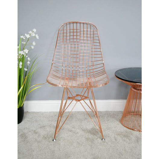 Electra Retro Steel Dining Chair Set of 4 - Copper (46 x 51 x 87cm)