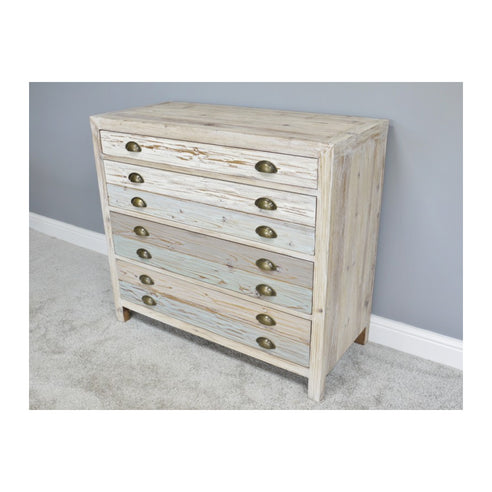 Loft Style Multi Coloured Wood Chest of Drawers - Beach House (100 x 45 x 90cm)