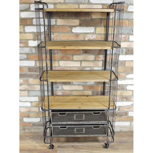 Hoxton Metal and Wood Industrial Style Wheeled Display Unit (82 x 34 x 162cm)