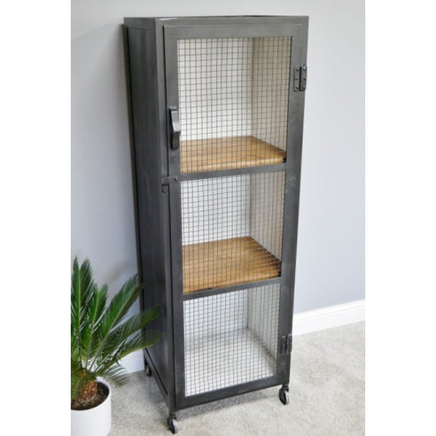 Hoxton Metal and Wood Industrial Style Low Display Unit (51 x 43 x 152cm)