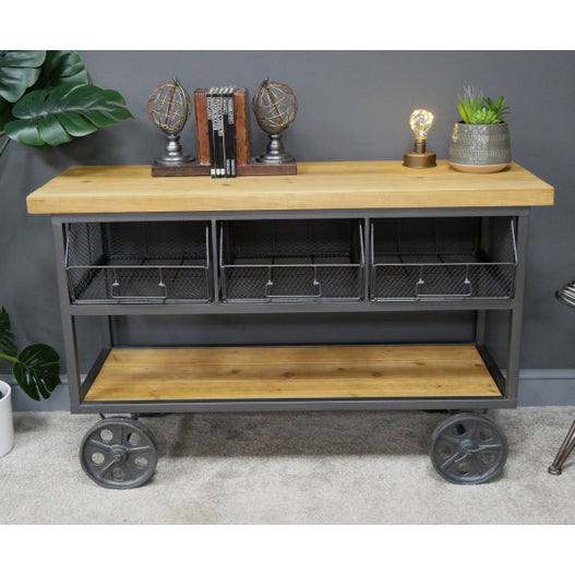 Brixton Metal and Wood Industrial Wheeled Unit (120 x 44 x 76cm)