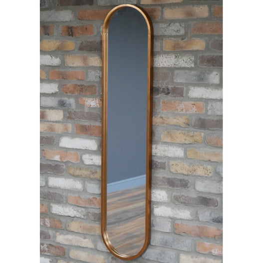 Copper Finish Distressed Slim Patinated Wall Mirror (29 x 130cm)