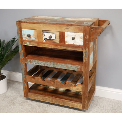 Loft style Wood Drinks Trolley - Beach House- Clearance