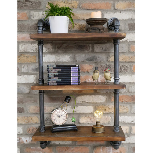Hoxton Metal Industrial Triple Pipe Shelf (60 x 25 x 95 )