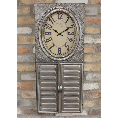 Retro Industrial Metal Clock Key Cabinet (37 x 8 x 84cm)
