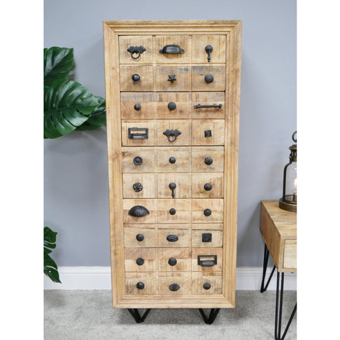 Hoxton Industrial 5 drawer Tallboy Chest of Drawers (50 x 41 x 126cm)