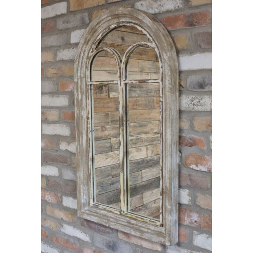 Beach House Distressed Wood Arched Mirror (54 x 5 x 94)