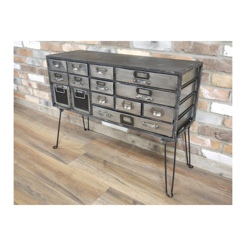 Hoxton Metal Industrial Retro Multi Chest of Drawers (90 x 34 x 64cm)