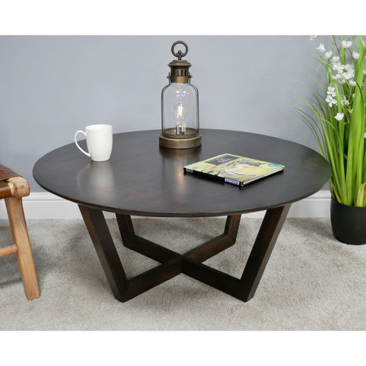 Retro Industrial 50's Style Round Coffee Table (91 x 91 x 39cm)