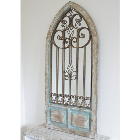 Beach House Distressed Wood Arched Mirror ( 67 x 3 x 137)