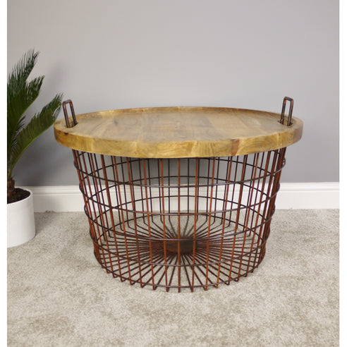 Hoxton Metal and Wood Industrial Retro Rusty Basket Side Table (76 x 76 x 52cm)