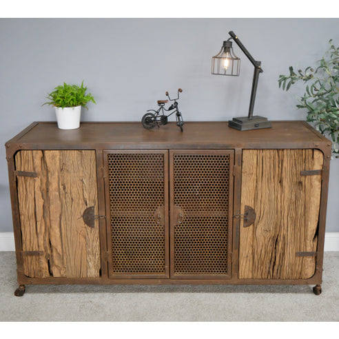 Hoxton Metal and Wood Industrial Rustic Sideboard (150 x 51 x 80cm)