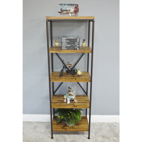 Hoxton Metal and Wood Industrial Style Shelved Unit (50 x 37 x 152cm) - CLEARANCE