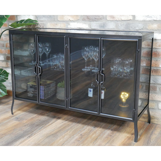 Brixton Metal Industrial Smoked Glass Display Sideboard (120 x 41 x 82cm)