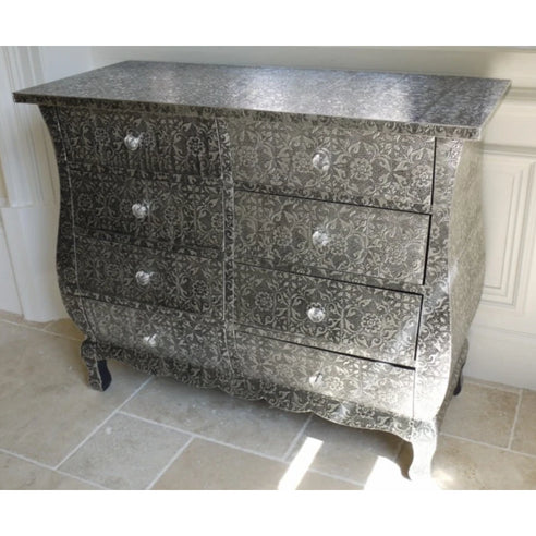 Blackened Silver Embossed Chest of Drawers (8 Drawers, 85 x 38 x 70cm)
