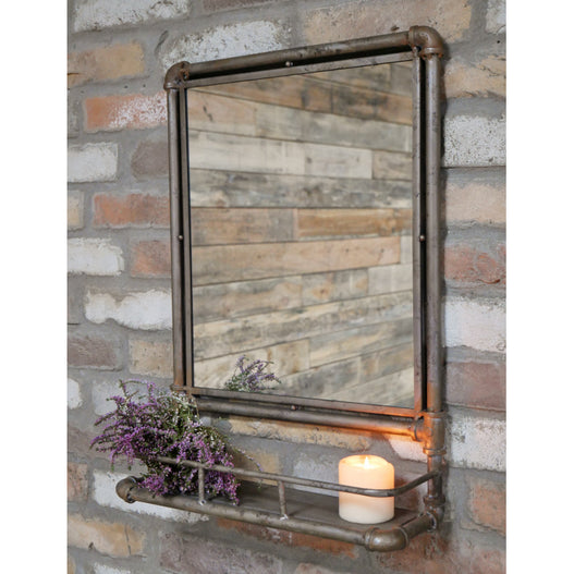 Hoxton Metal Industrial Mirror with Shelf (44 x 16 x 60 ) - CLEARANCE