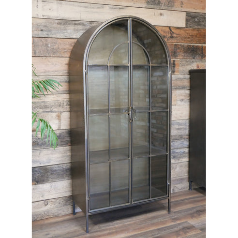 Retro Industrial Deco Style Metal Arched Display Cabinet (75 x 36 x 160cm)