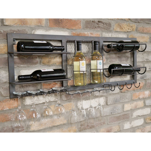 Brixton Metal Industrial Drinks Wine Wall Bar (100 x 11 x 38cm)