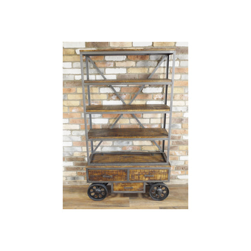 Hoxton Industrial Mango Wood Steel Wheeled Display Unit (100 x 35 x 177cm)
