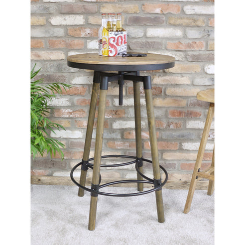 Retro Industrial 50's Style Notting Hill Adjustable Bar Stool Set of 2 (60 x 60 x max 119cm)