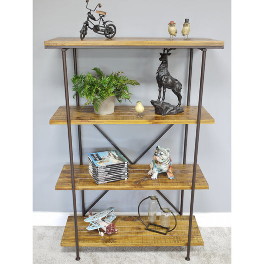 Hoxton Metal and Wood Industrial Style Shelved Unit (95 x 37 x 142cm)