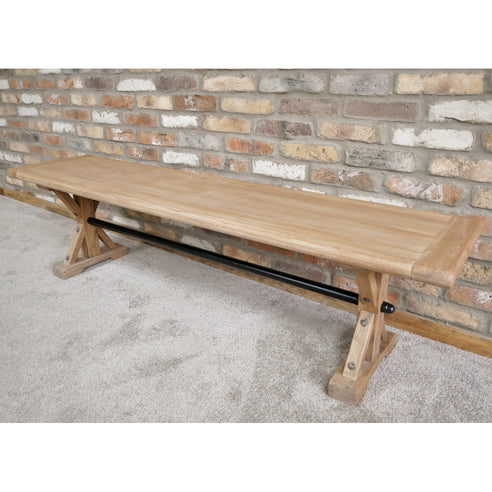 Hoxton Industrial Reclaimed Elm Wood Dining Bench (170 x 45cm x 45cm)