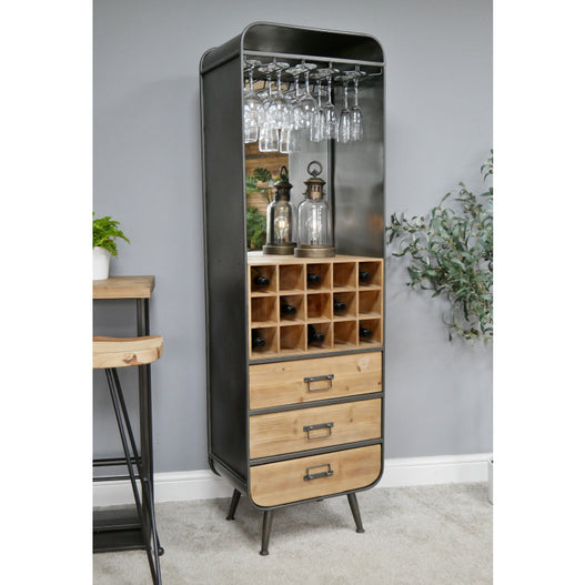 Retro Industrial 50's Style Metal/Wood Drinks Mirrored Display Cabinet (53 x 38 x 173cm)
