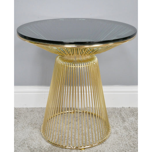 Electra Retro Round Black Glass and Gold Side Table (45 x 45 x 45cm)