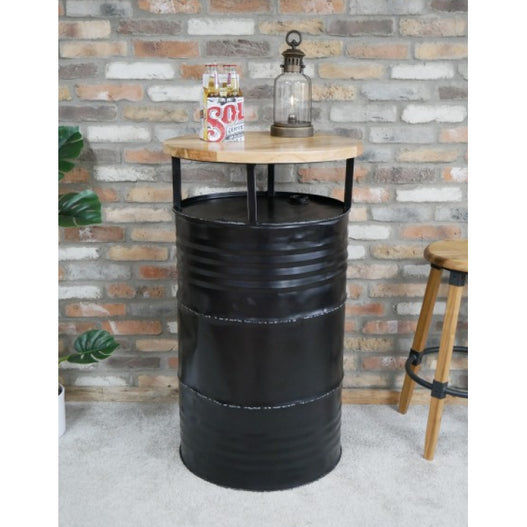 Retro Industrial Steel Oil Barrel Drinks Bar Table(64 x 64 x 110cm)