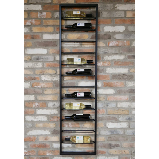 Brixton Metal Industrial Drinks Wine Wall Rack (40 x 8 x 160cm)