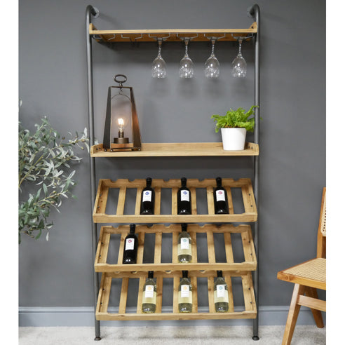 Retro Industrial Wood Wine Bar Open Shelving Unit (89 x 31 x 180cm)