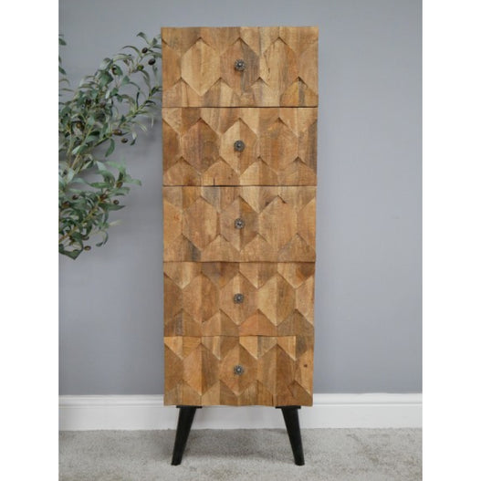 Harlequin Industrial Iron and Mango Wood Tallboy Chest of Drawers (42 x 126 x 38cm)