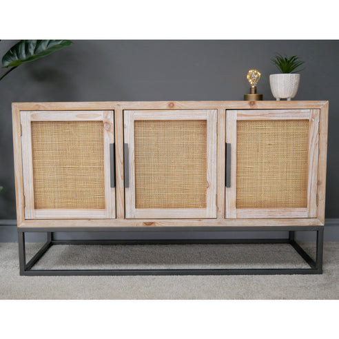 Brighton Beach Whitewash and Rattan Sideboard (120 x 41 x 69)