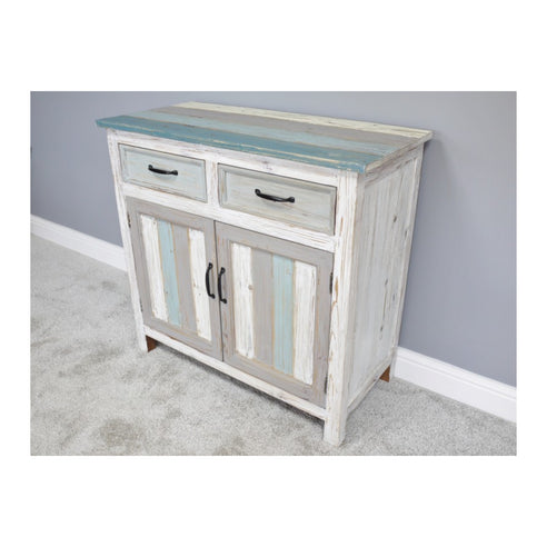 Loft Style Multi Coloured Wood Sideboard - Beach House (90 x 42 x 86cm)