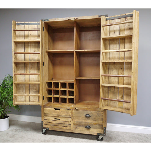 Hoxton Industrial Wood and Steel Wheeled Larder Drinks Cabinet