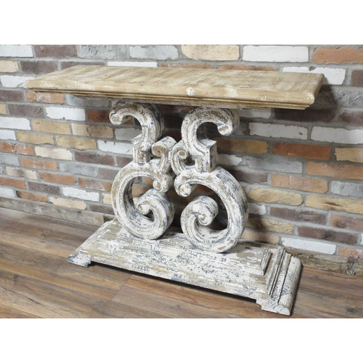 Distressed Wood Console Table with Sun Bleached Finish - Beach House (106 x 36 x 89cm)