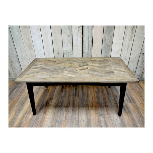 Herringbone Recycled Birch Wood Dining Table (180 x 90 x 76cm)