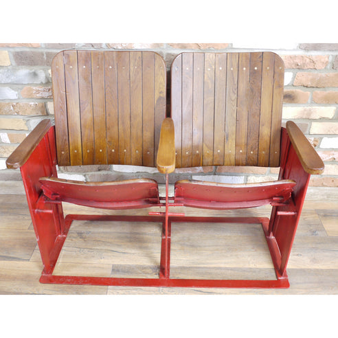 Retro Industrial Original Reclaimed Double Cinema Seat ( 98 x 52 78 )