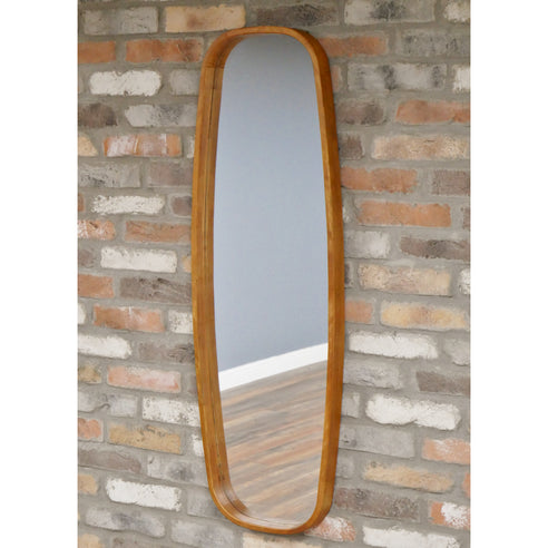 Retro Industrial 50's Style Wood Wall Mirror (40 x 5 x 120cm)