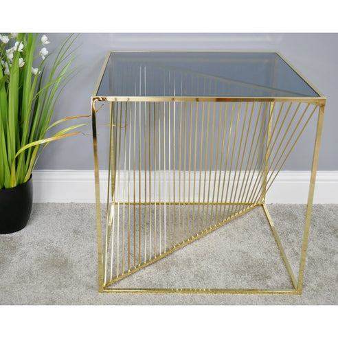 Electra Retro Steel Side Table - Gold (52 x 52 x 53cm)