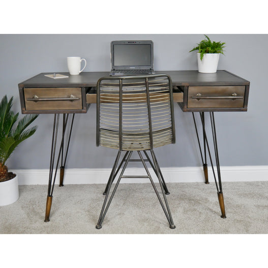 Hoxton Industrial Vintage Distressed Metal Computer Desk and Chair Set (120 x 54 x 81cm)