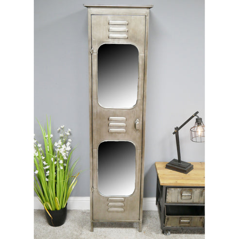 Hoxton Metal Industrial Shelved Mirrored Cabinet (45 x 38 x 169cm)